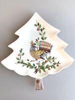 Vintage Italian Ceramic Christmas Tree With Bird Dish Platter Made In Italy RARE