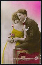 aj10 Romance love couple glamour Art Deco fantasy original c1920s photo postcard