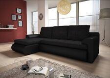 Brand New LEFT Corner Sofa Bed SANTI in BLACK With Storage & SPRING SEAT