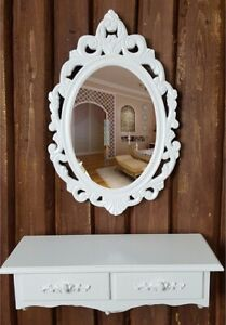 Wall Mounted Shabby Chic Wood Dressing Table Cosmetic Storage Drawer w/ Mirror