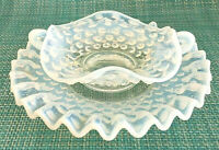 VTG Fenton Clear White Opalescent Hobnail Mayonnaise Set Bowl & Underplate EUC