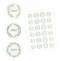 24 Danke Aufkleber - Floral Aquarell grün - rund 4 cm Ø - Dankeaufkleber Sticker