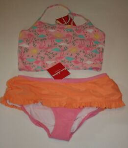 New Hanna Andersson Girls 160 14 year Swimsuit 2 Piece Pink Flamingo Brids