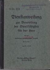 H.Dv. 251 Dienstanweisung zur Beurteilung der Dienstfähigkeit für das Heer. 1929