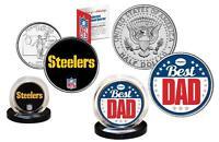 Best Dad PITTSBURGH STEELERS 2-Coin Set Quarter and JFK Half Dollar NFL LICENSED