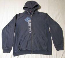 Burton Snowboard Full Zip Heavy Hoodie Blue Ribbed Sides Name Logo Mens Large