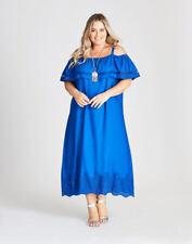 Autograph Size 20 off The Shoulder Short Sleeve Blue Cut out Lace Midi Dress
