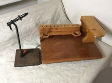 Vintage Thompson Fly Tying Vise w/ Padded Base & Work Bench Mini Table VG Cond