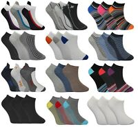 6 Pairs Mens Trainer Liner Ankle Socks Funky Designs Adults Sports 6-11-MEGA MIX