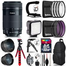 Canon 55-250mm IS STM - Video Kit + LED KIt + Tripod - 32GB Accessory Bundle