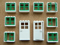 LEGO windows and doors for house (pack of 10) 2x4x3 white green BRAND NEW