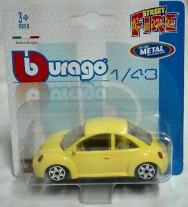 Volkswagen New Beetle Modellino Burago Die Cast Maggiolino Maggiolone 1/43 New