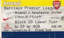 Ticket - Arsenal v Manchester United 12.02.14