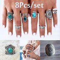 Boho Retro Turquoise Ring Hippie Silver Gothic Rings Set Tribal Jewelry 8pcs