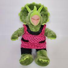 Build A Bear Dinosaur Green Plush Stuffed Animal Pink Polka dot Triceratops