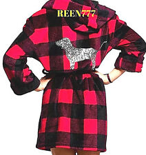 PINK Victoria's Secret RED+Black Plaid Bath ROBE+HOOD Sequin Bling Logo Dog XS S