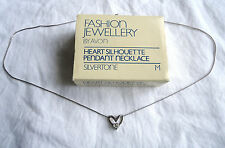 VINTAGE AVON 'SILVER' HEART PENDANT WITH STONE ON NECKLACE NOS IN BOX