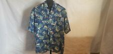 Vintage 1990s Hawaiian Silk Company Size Xl Button Down Postage Stamp Shirt S/S