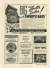 1946 PAPER AD Tuffy Toys Futuristic Car Auto  Haras Sweepstakes Horse Race Game