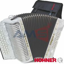 HOHNER CORONA II Classic 31 Button FBE Diatonic Accordion - White + Bag, Straps
