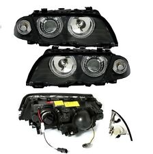 2 FEUX AVANT ANGEL EYES NOIR BMW E46 BERLINE PH 1 98-01 + KIT XENON H7 6000