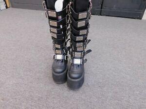 Demonia Swing-815 Wedge Platform Goth Punk Gogo Boot Metal Women's size 8