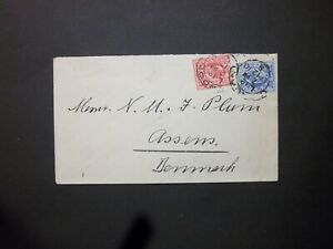 GB Late Fee 1910 KEVII 21/2d + 1d Envelope LONDON 5 Hooded Circles to Denmark
