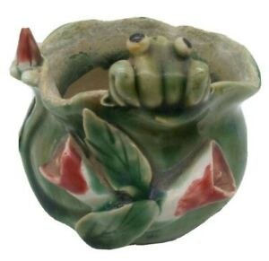 Frog & Lily Pad Flower Bowl Planter RARE! Majolica Look! Vintage MCM Art Pottery