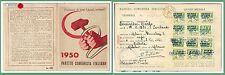 61010 - vintage document  TESSERA D'EPOCA - Partito COMUNISTA ITALIANO 1950
