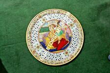 """12"""" Mughal Hand Painted Design Round Marble Plate Lattice Art Home Decor H5697"""