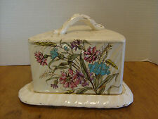 "Vintage Porcelain Cheese Keeper Victorian era, Floral & gold 4 1/2"" x 9""    RB-1"