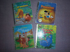 4 Childrens Little Golden Books Pinocchio Lion King Jungle book Lady & the Tramp
