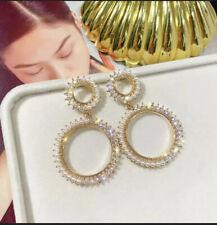 Round Hoop Faux Gold & Pearl + Rhinestone Asymmetrical Stud Drop Hanging Earring