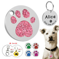 Paw Glitter Personalized Rhinestone Cat Puppy ID Name Tags Custom Free Engraved