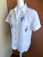 Jordan women's blouse size M white and blue top Embroidered 100% linen shirt