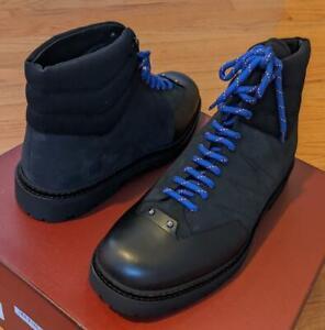 "$795 Mens Bally ""Zermatt Zeber"" Leather/Shearling Boots Black 43.5 US 10.5"