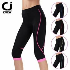 CHEJI Women's 3/4 Cycling Pants Ladies Padded Road Bike Bicycle Cycle Shorts