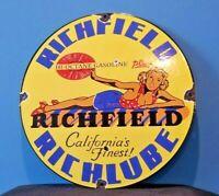 VINTAGE RICHFIELD GASOLINE PORCELAIN GAS SERVICE STATION CALIFORNIA PUMP SIGN