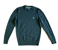 FRED PERRY Green Classic Merino Wool Sweater Blouse USA 6 UK10 Cardigan