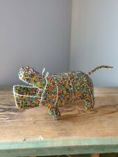 Colorful Beaded Hippopotamus figurine maybe made in Africa