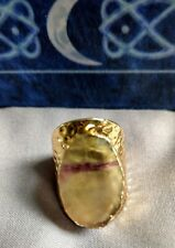 Fluorite ring adjustable rainbow yellow fluorite crystal healing focus