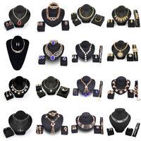 Damen Schmuck Set Hochzeit Feier Halskette Ohrringe Ringe Armband Collier Paket