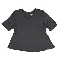 New, $37 Value! DENM & CO XL black V-neck swing T-shirt with lace sleeves