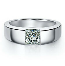 1CT Princess Cut Real Solid 14K White Gold Diamond Men's Engagement Ring