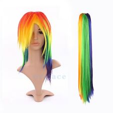 Anime My Little Pony Rainbow Resistant Tail Wig Cosplay Dash Multi Colour