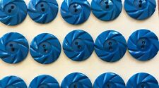 "Vintage Buttons - 24 Royal Blue Casein 2-Hole Wheel 7/8"" Buttons  Made In France"