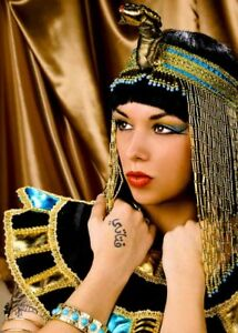 Womens Cleopatra Wig and Gold Headpiece Deluxe Fancy Dress Cosplay Accessory