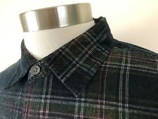 CARBON 2 COBALT Mens Large Corduroy Black White Green Windowpane Check Shirt A7