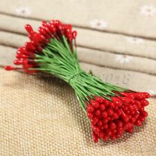 100Pcs Red Artificial Flower Stamens Double Sided Plastic Wire Wrapped Craft