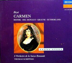 Bizet - Carmen, Resnik, Del Monaco, Krause, Sutherland  -  CD, VG